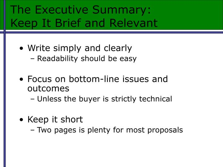 The Executive Summary: