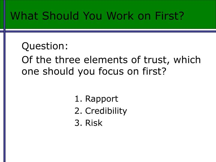 What Should You Work on First?