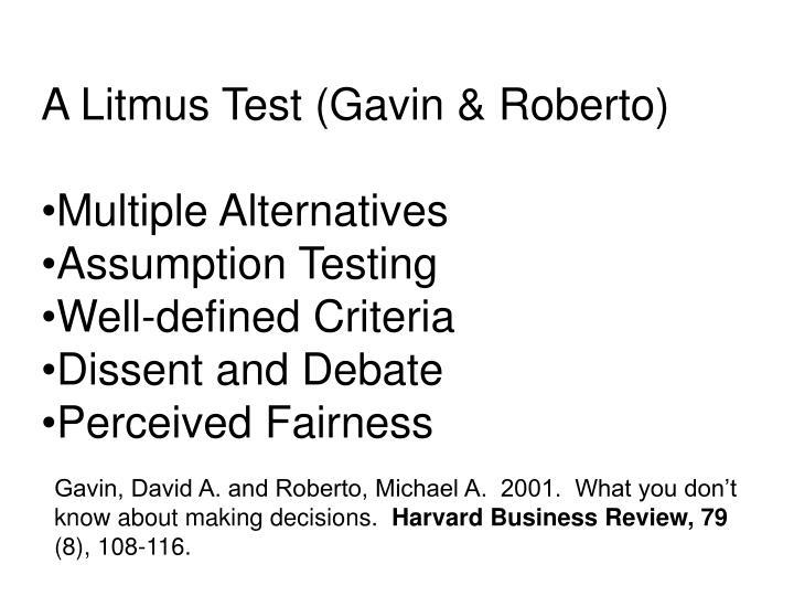 A Litmus Test (Gavin & Roberto)