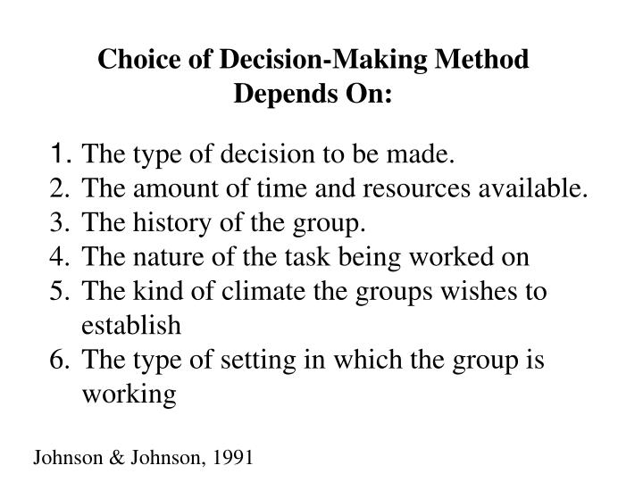 Choice of Decision-Making Method