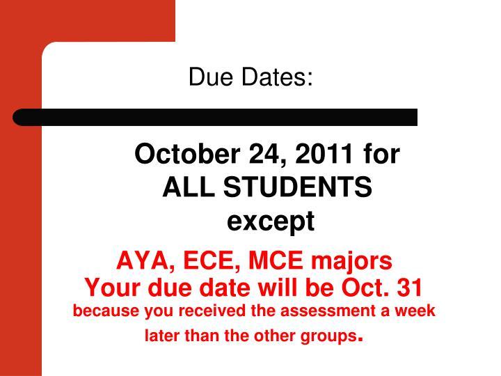 AYA, ECE, MCE majors