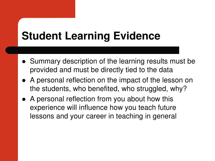 Student Learning Evidence