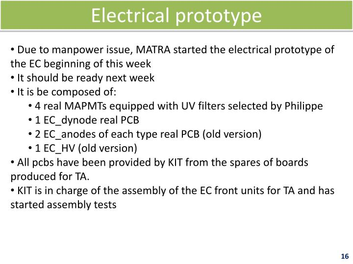 Electrical prototype