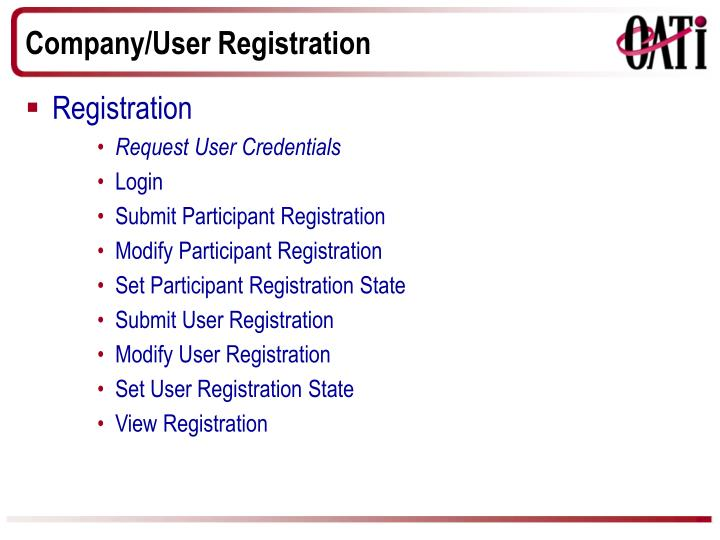 Company/User Registration