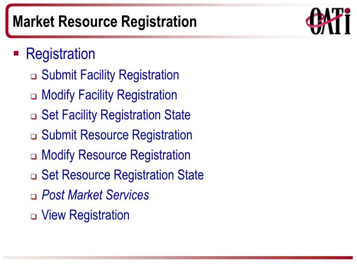 Market Resource Registration