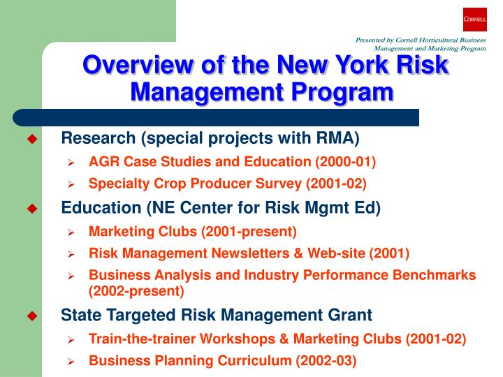 Overview of the new york risk management program