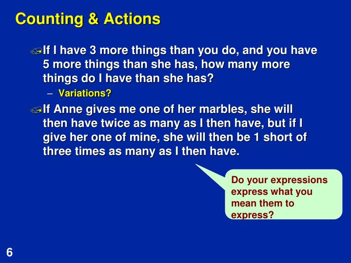 Counting & Actions