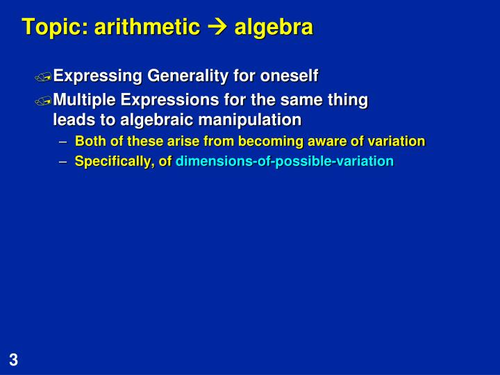 Topic arithmetic algebra