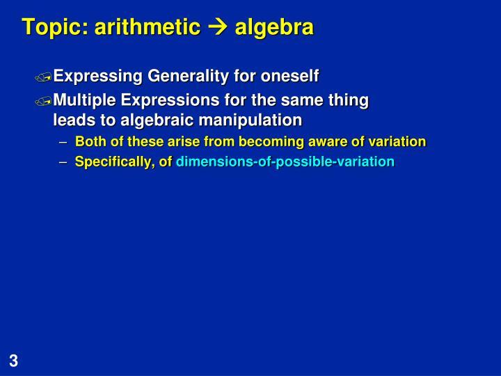 Topic: arithmetic