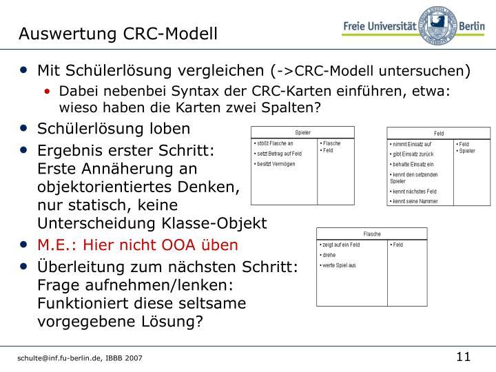 Auswertung CRC-Modell