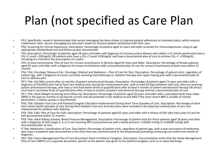 Plan (not specified as Care Plan