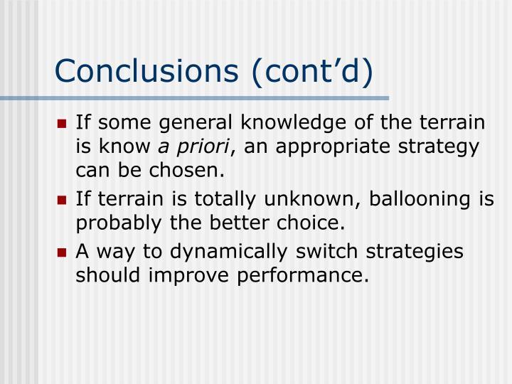 Conclusions (cont'd)