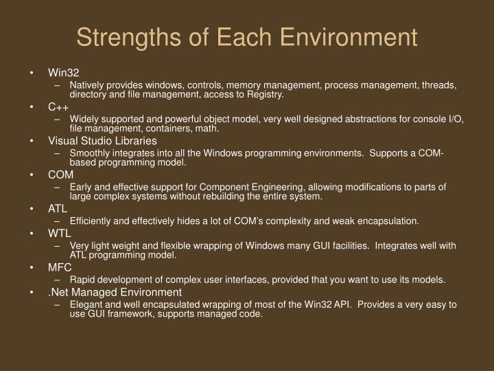 Strengths of each environment
