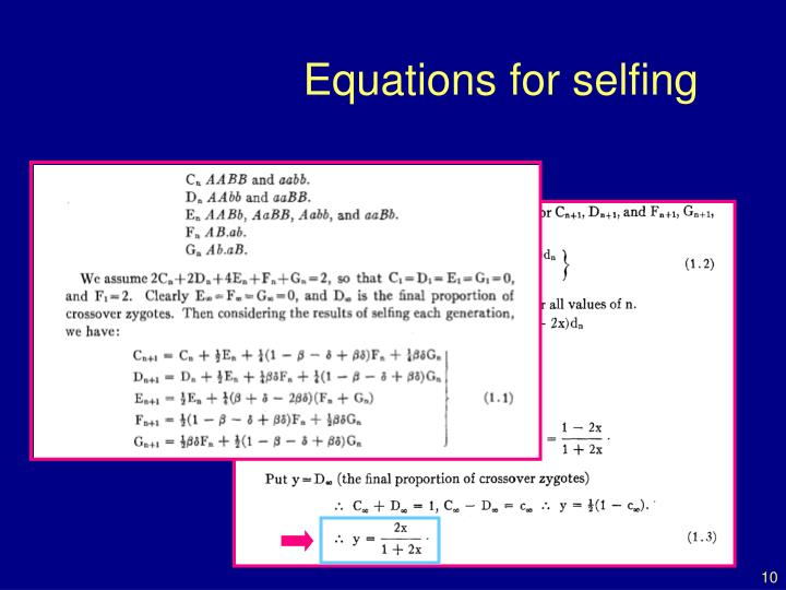 Equations for selfing