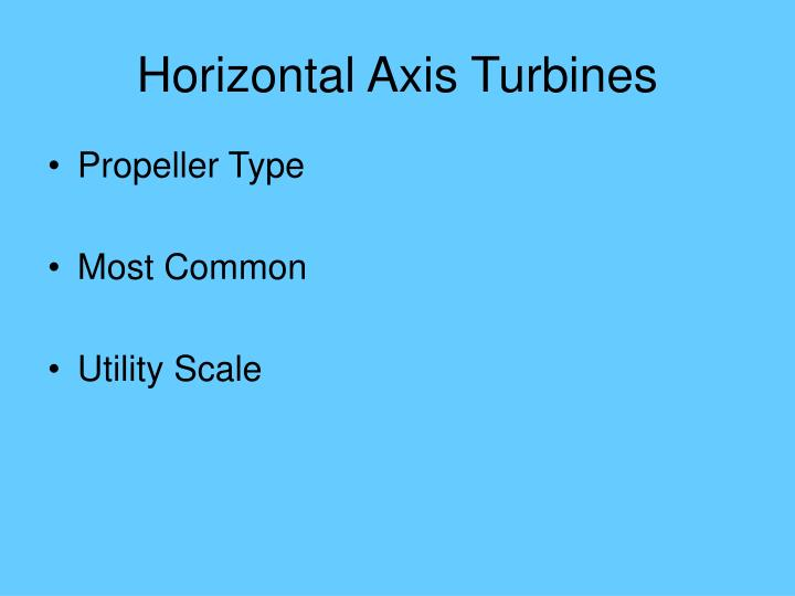 Horizontal Axis Turbines
