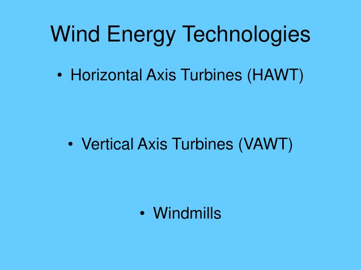 Wind Energy Technologies