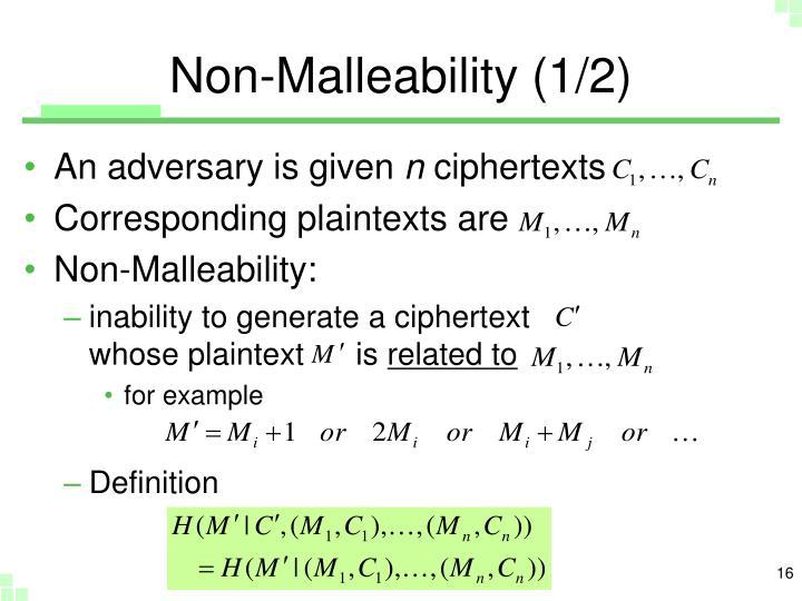 Non-Malleability (1/2)