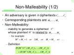 non malleability 1 2