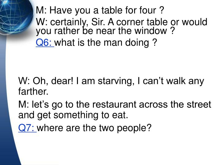 W: Oh, dear! I am starving, I cant walk any farther.