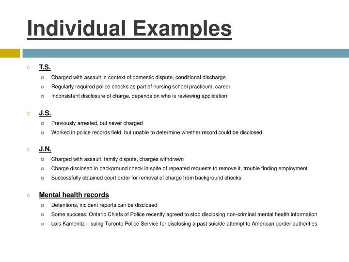 Individual Examples