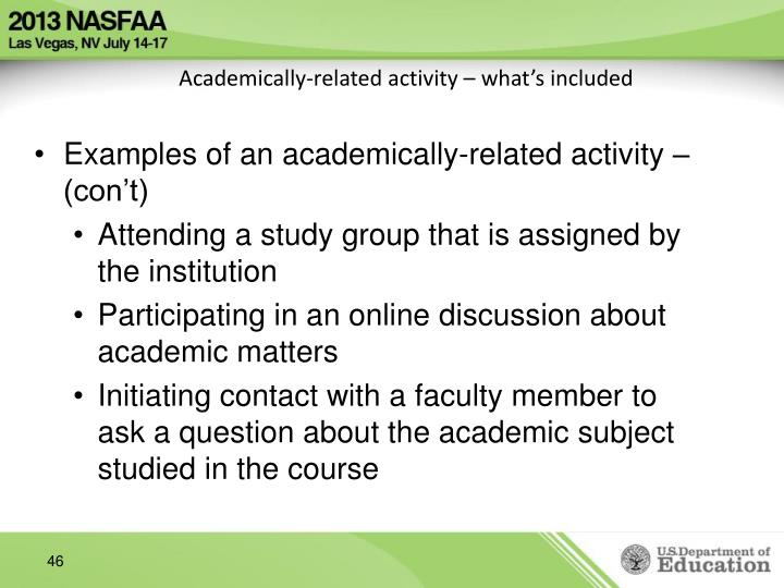 Academically-related activity – what's included