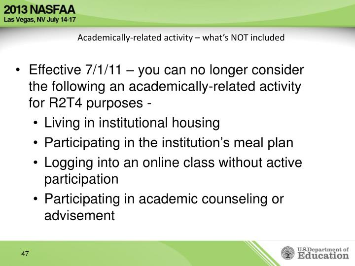Academically-related activity – what's NOT included