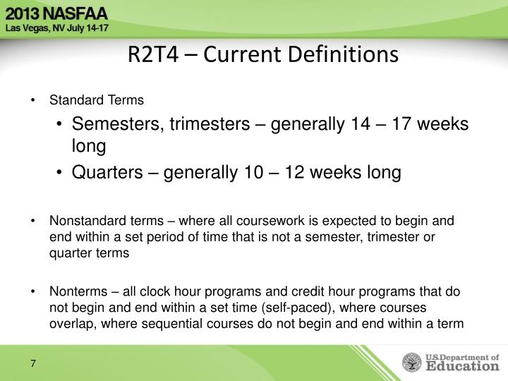 R2T4 – Current Definitions