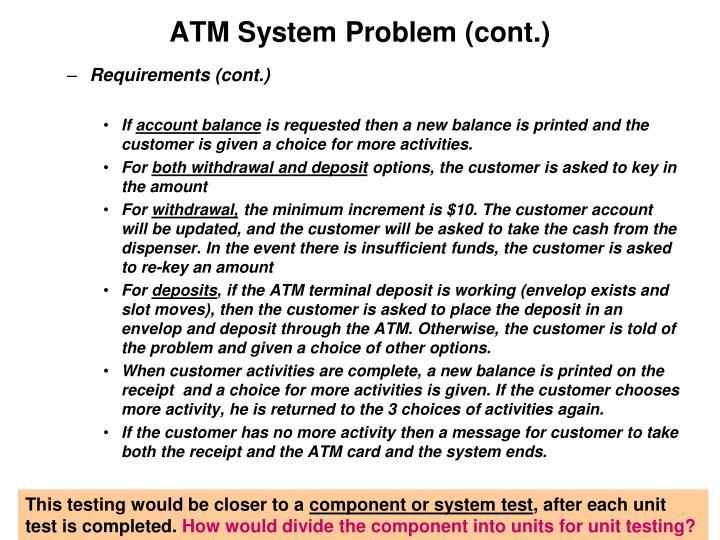 ATM System Problem (cont.)