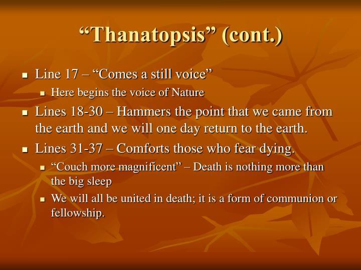 """""""Thanatopsis"""" (cont.)"""