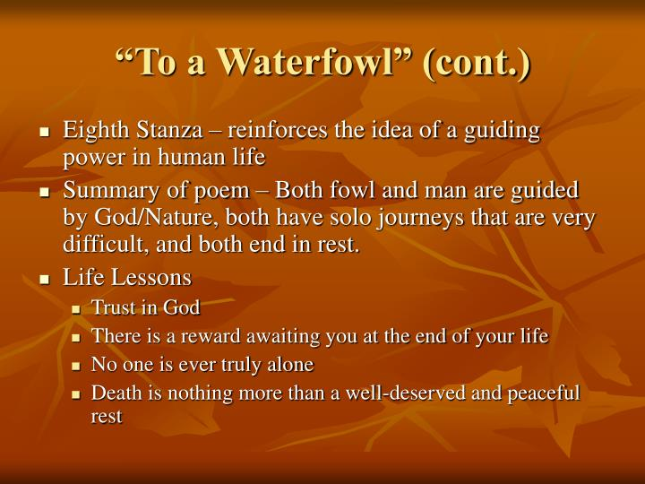 """""""To a Waterfowl"""" (cont.)"""
