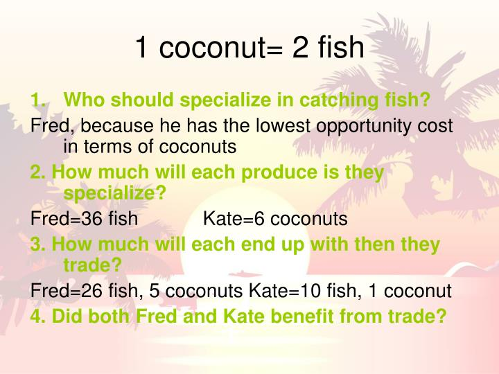 1 coconut= 2 fish