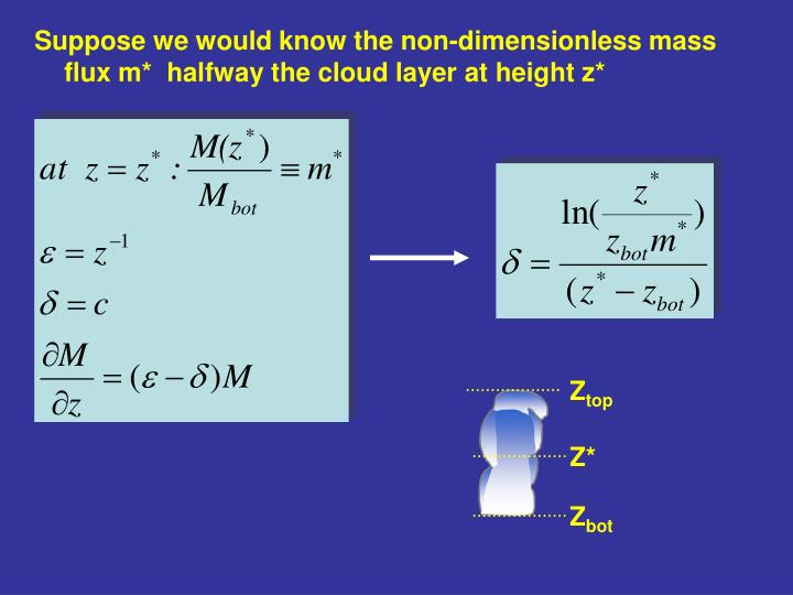 Suppose we would know the non-dimensionless mass flux m*  halfway the cloud layer at height z*
