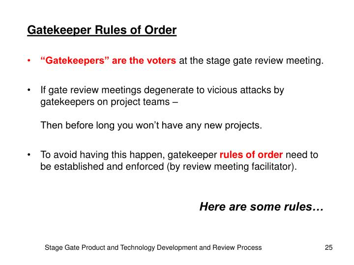 Gatekeeper Rules of Order