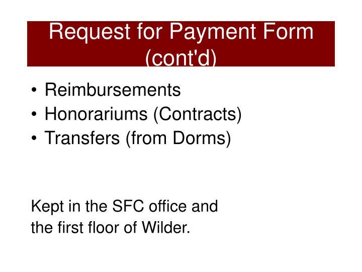 Request for Payment Form  (cont'd)