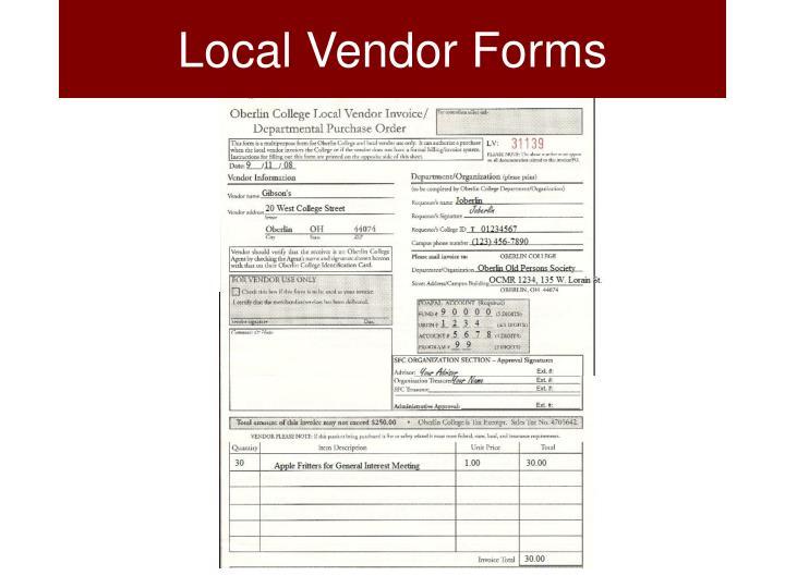 Local Vendor Forms