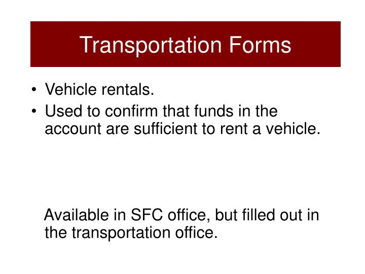 Transportation Forms