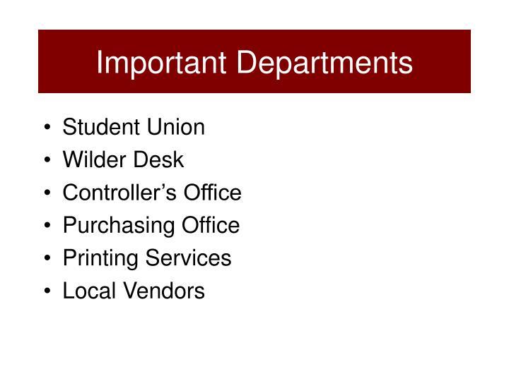 Important Departments