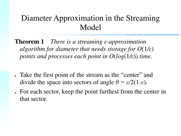 Diameter Approximation in the Streaming Model