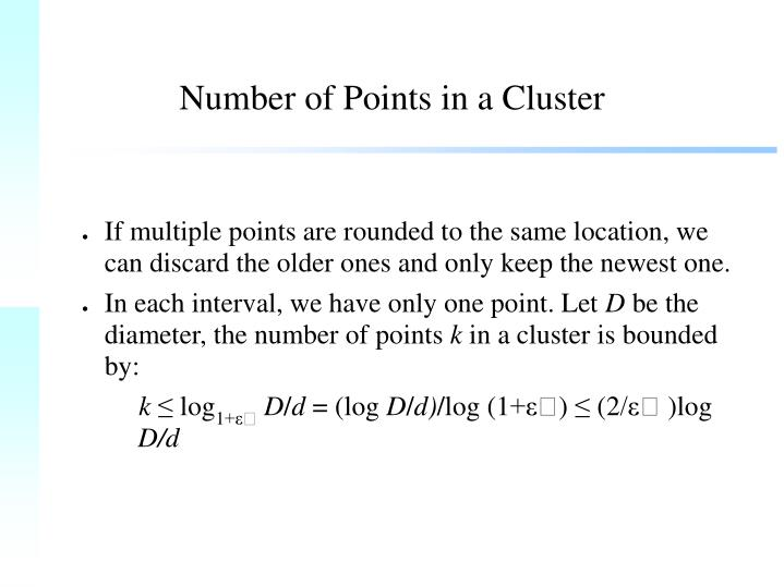 Number of Points in a Cluster