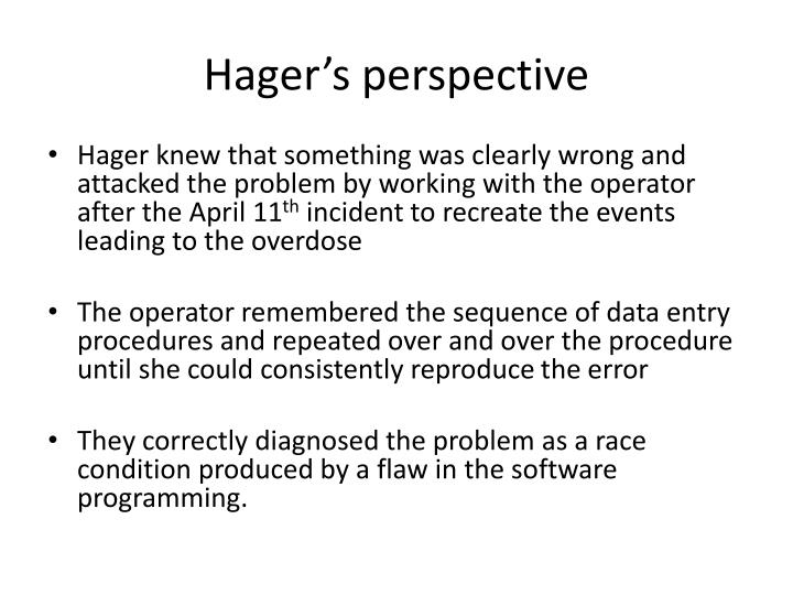 Hager's perspective