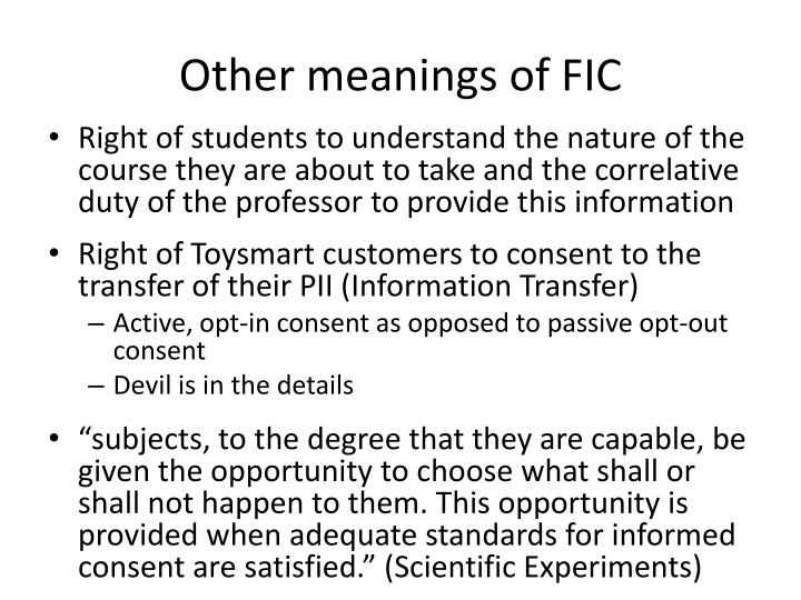 Other meanings of FIC