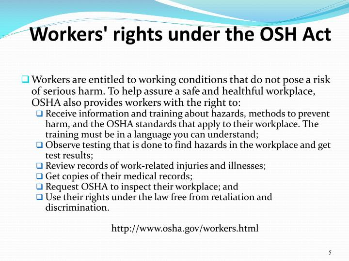 Workers' rights under the OSH