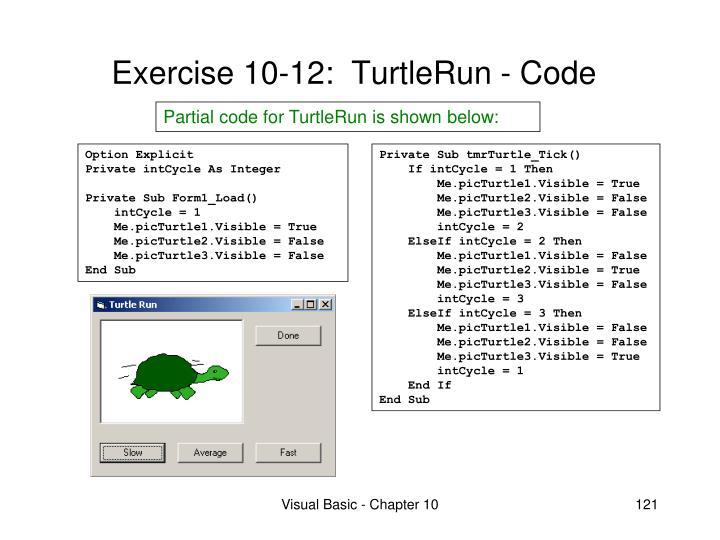 Exercise 10-12:  TurtleRun - Code