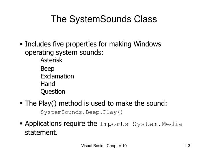The systemsounds class