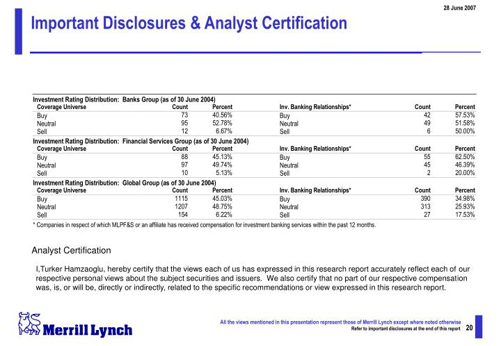 Important Disclosures & Analyst Certification
