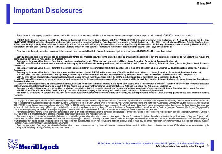 Important Disclosures