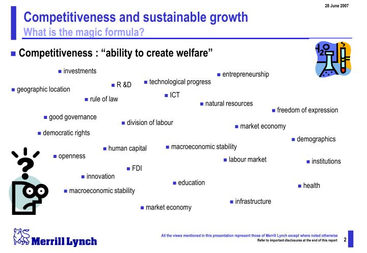Competitiveness and sustainable growth