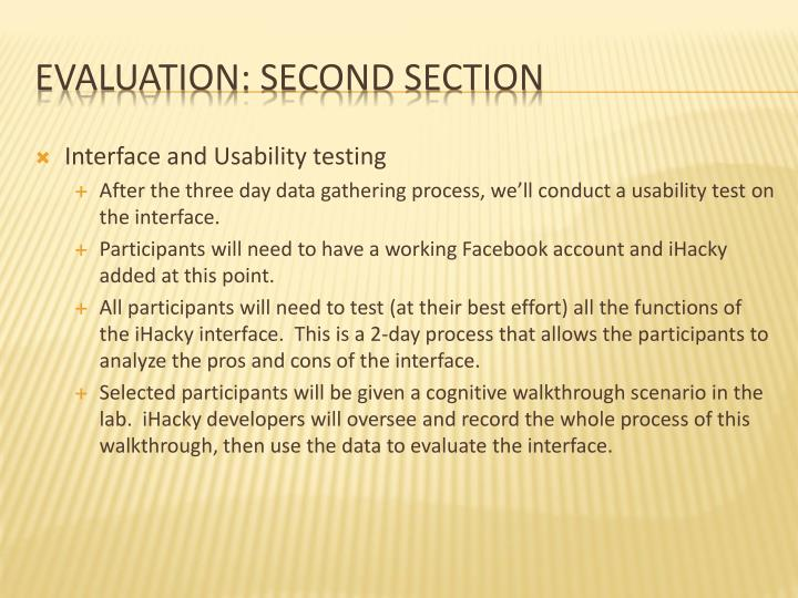 Interface and Usability testing