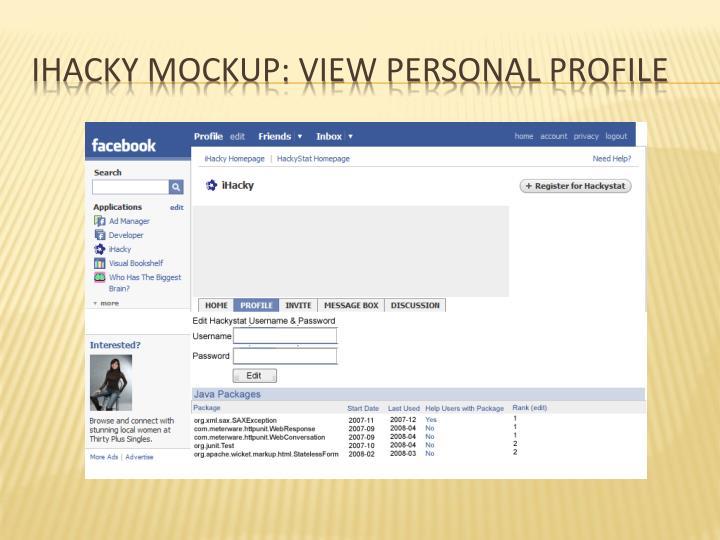 Ihacky mockup: view personal profile