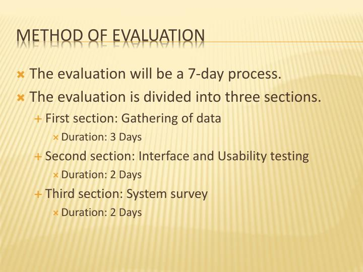 The evaluation will be a 7-day process.